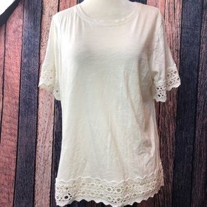Ann Taylor Loft  Top 100% Cotton Crochet Hems